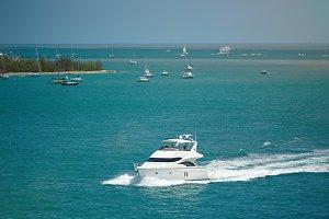 Boats in caribbean sea