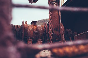 Rusty chains on a Ship Wreckage