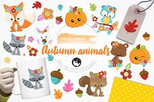Autumn animals illustration pack