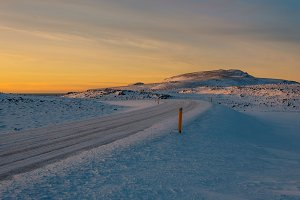 Winter Sunset and small Road