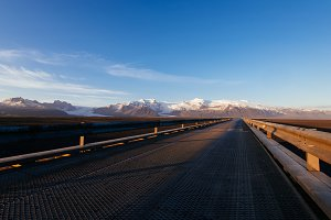Bridge in Iceland and Mountains