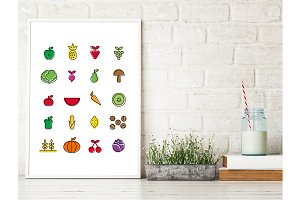 Fruit&Vegetable Icons Printable Art