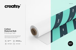 Cotton Material Roll Mockup Set
