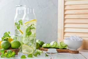Infused lemon and cucumber water