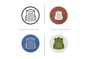 Backpack. 4 icons. Vector