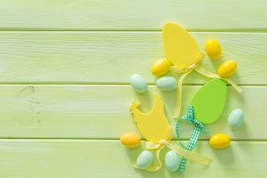 Easter background with flaffy willow and decorations