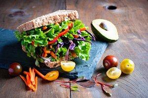Vegan wholegrain sandwich