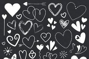 Chalkboard Hearts Clip Art Set