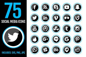 75 Blue Social Media Icons