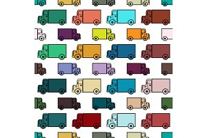 Retro toy trucks seamless pattern
