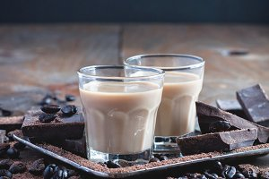 Shot glasses with homemade baileys