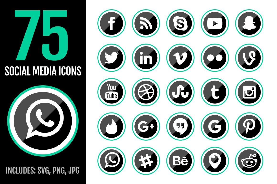 75 green social media icons icons creative market buycottarizona