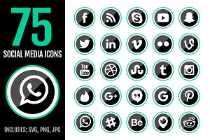 75 Green Social Media Icons