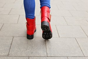 Woman in red boots
