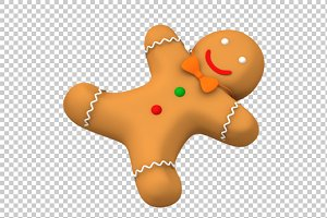Gingerbread Man - 3D Render PNG