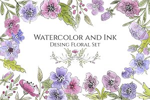 Watercolor and Ink Floral Set