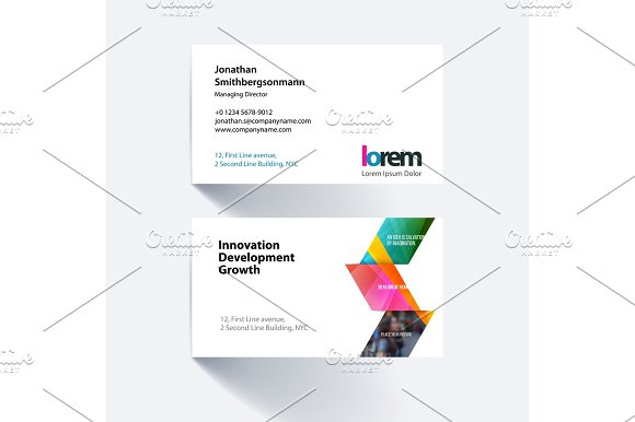 Vector business card template with yellow arrows, triangles for