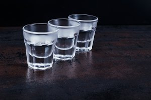 Three glasses of cold vodka