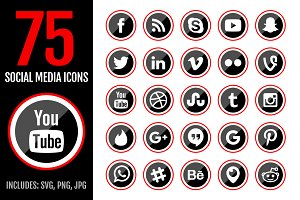 75 RED Social Media Icons