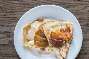 Crepes with brie and apple