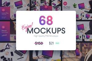 68 MOCKUPS Bundle -86% OFF