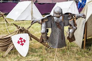 Armor in a medieval camp