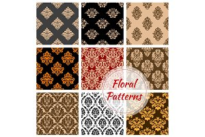 Floral ornament vector damask seamless pattern set