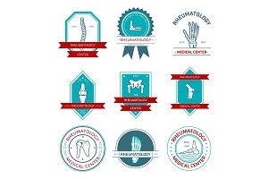Rheumatology medical center badge set design