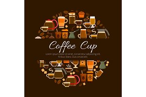 Coffee cafe or cafeteria menu vector poster