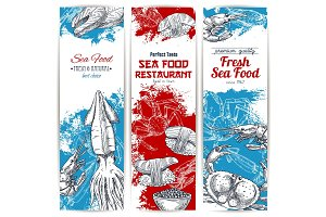 Vector banners set of fresh seafood and fish food