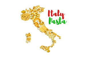 Pasta in map of Italy vector poster