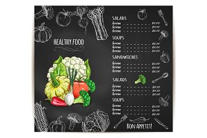 Healthy food menu vegetables vector sketch