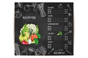 Healthy food menu vegetables vector sketch