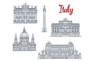 Famous buildings Italy architecture vector icons