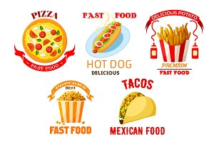 Fast food meal snacks vector isolated icons set