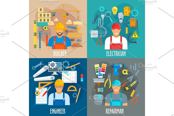 Professions Workers And Work Tools Vector Posters
