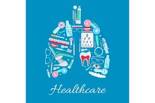 Ophthalmology, dentistry healthcare vector poster