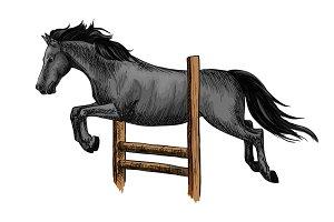 Horserace. Equine sport racing symbol