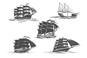 Frigate ship sailing vessel vector isolated icons