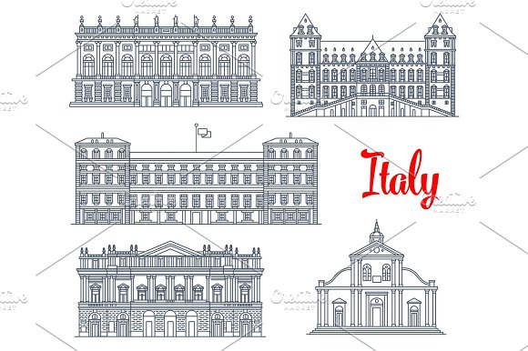 Famous Italy Buildings Architecture Vector Icons