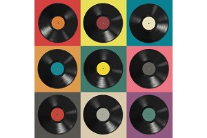 Vinyl records with colorful labels