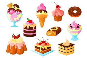 Dessert cake sweets, ice cream vector icons set