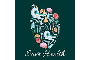 Health medical poster of vector heart symbol