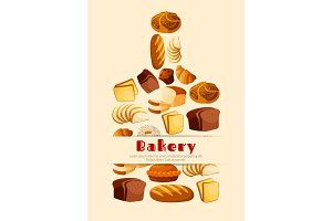 Bakery bread cutting board vector poster