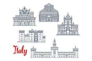 Italy historic buildings architecture vector icons