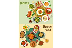 Hearty meal icon set for healthy food design