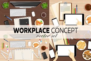 Workplace concept vector set