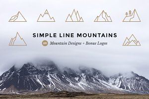Simple Line Mountains + Bonus Logos