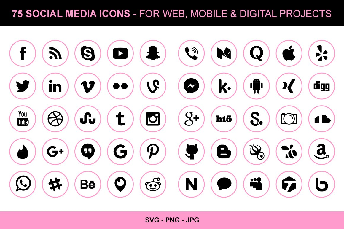 Social media icons business cards images free business cards 150 clean social media icons icons creative market 75 pink social media icons magicingreecefo images magicingreecefo Images