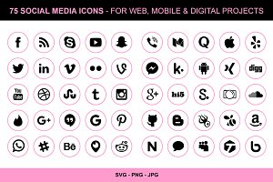 75 Pink Social Media Icons